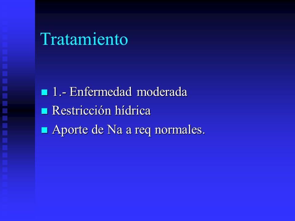 Tratamiento 1.- Enfermedad moderada 1.- Enfermedad moderada Restricción hídrica Restricción hídrica Aporte de Na a req normales. Aporte de Na a req no