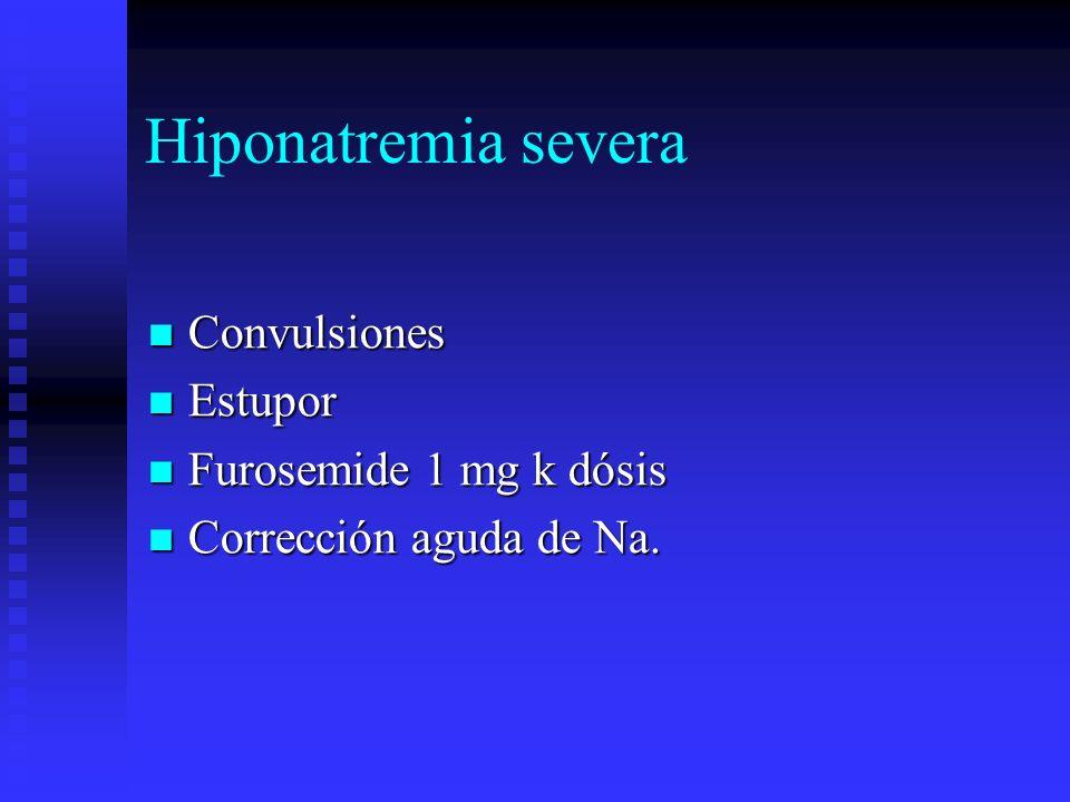 Hiponatremia severa Convulsiones Convulsiones Estupor Estupor Furosemide 1 mg k dósis Furosemide 1 mg k dósis Corrección aguda de Na. Corrección aguda
