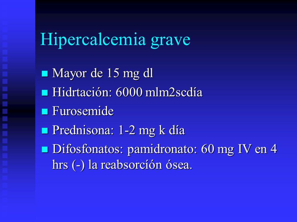 Hipercalcemia grave Mayor de 15 mg dl Mayor de 15 mg dl Hidrtación: 6000 mlm2scdía Hidrtación: 6000 mlm2scdía Furosemide Furosemide Prednisona: 1-2 mg
