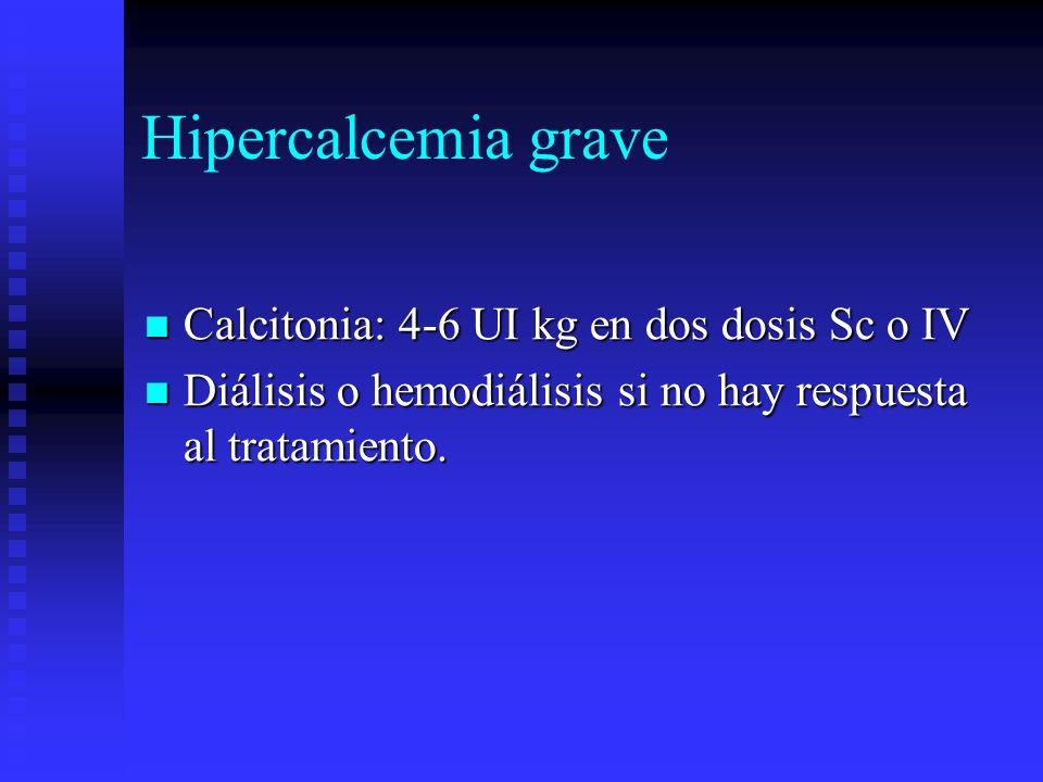 Hipercalcemia grave Calcitonia: 4-6 UI kg en dos dosis Sc o IV Calcitonia: 4-6 UI kg en dos dosis Sc o IV Diálisis o hemodiálisis si no hay respuesta