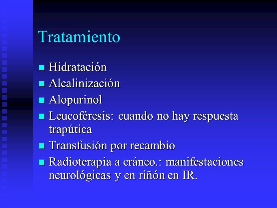 Tratamiento Hidratación Hidratación Alcalinización Alcalinización Alopurinol Alopurinol Leucoféresis: cuando no hay respuesta trapútica Leucoféresis: