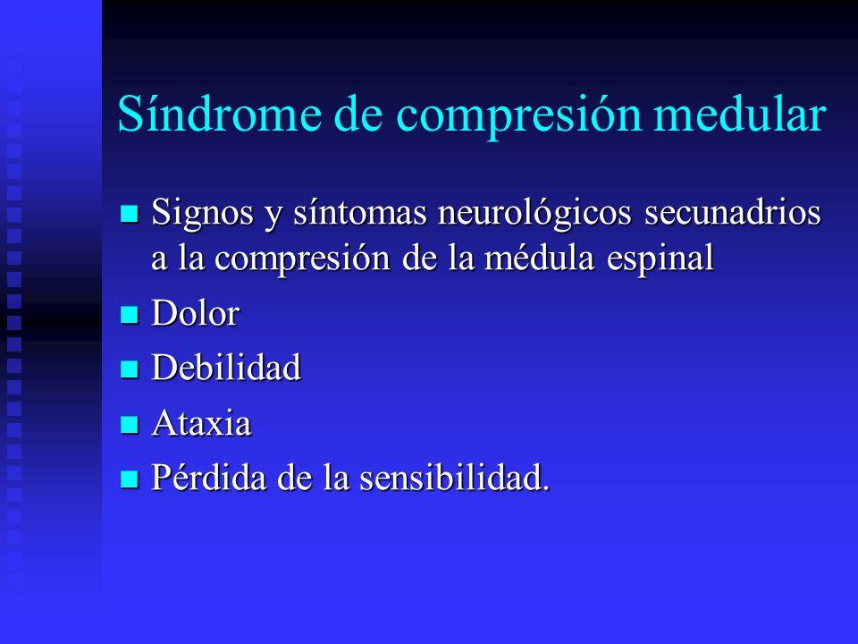 Síndrome de compresión medular Signos y síntomas neurológicos secunadrios a la compresión de la médula espinal Signos y síntomas neurológicos secunadr