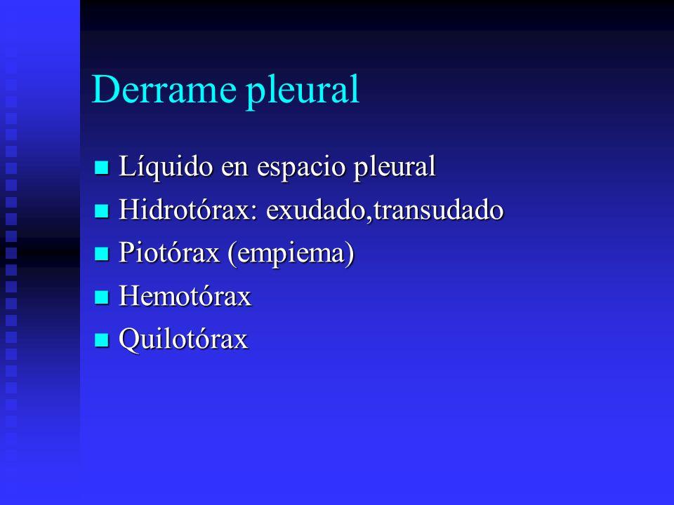 Derrame pleural Líquido en espacio pleural Líquido en espacio pleural Hidrotórax: exudado,transudado Hidrotórax: exudado,transudado Piotórax (empiema)