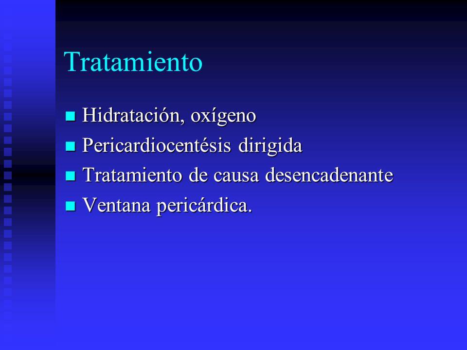 Tratamiento Hidratación, oxígeno Hidratación, oxígeno Pericardiocentésis dirigida Pericardiocentésis dirigida Tratamiento de causa desencadenante Trat