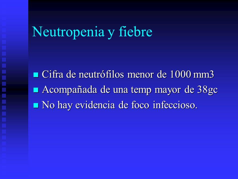 Neutropenia y fiebre Cifra de neutrófilos menor de 1000 mm3 Cifra de neutrófilos menor de 1000 mm3 Acompañada de una temp mayor de 38gc Acompañada de