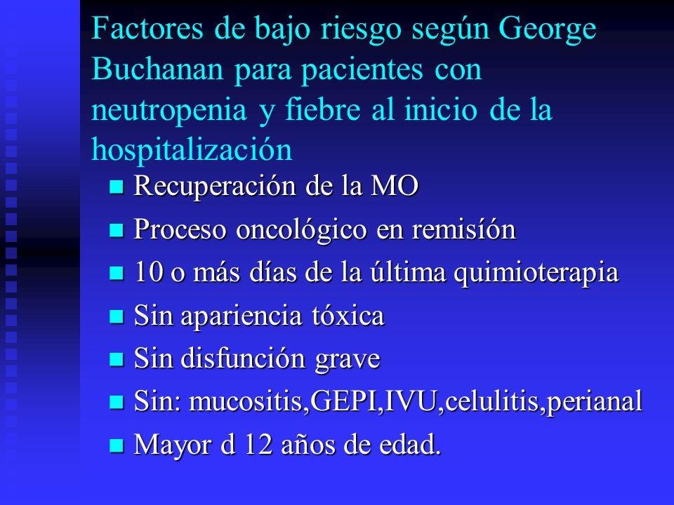 Factores de bajo riesgo según George Buchanan para pacientes con neutropenia y fiebre al inicio de la hospitalización Recuperación de la MO Recuperaci