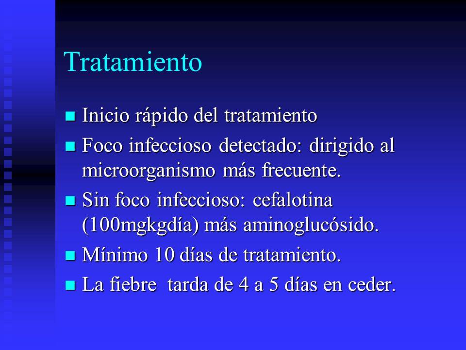 Tratamiento Inicio rápido del tratamiento Inicio rápido del tratamiento Foco infeccioso detectado: dirigido al microorganismo más frecuente. Foco infe