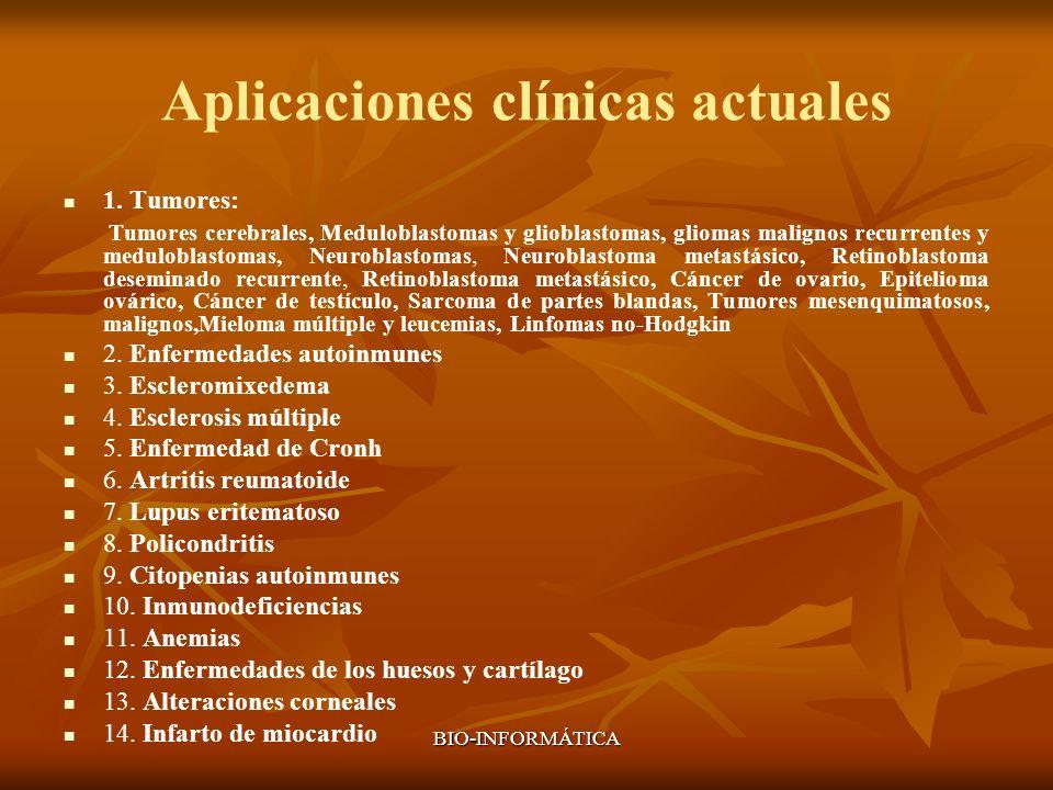 BIO-INFORMÁTICA Aplicaciones clínicas actuales 1. Tumores: Tumores cerebrales, Meduloblastomas y glioblastomas, gliomas malignos recurrentes y medulob