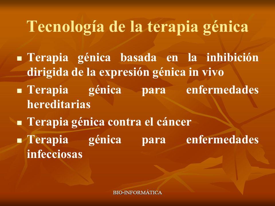 BIO-INFORMÁTICA Tecnología de la terapia génica Terapia génica basada en la inhibición dirigida de la expresión génica in vivo Terapia génica para enf