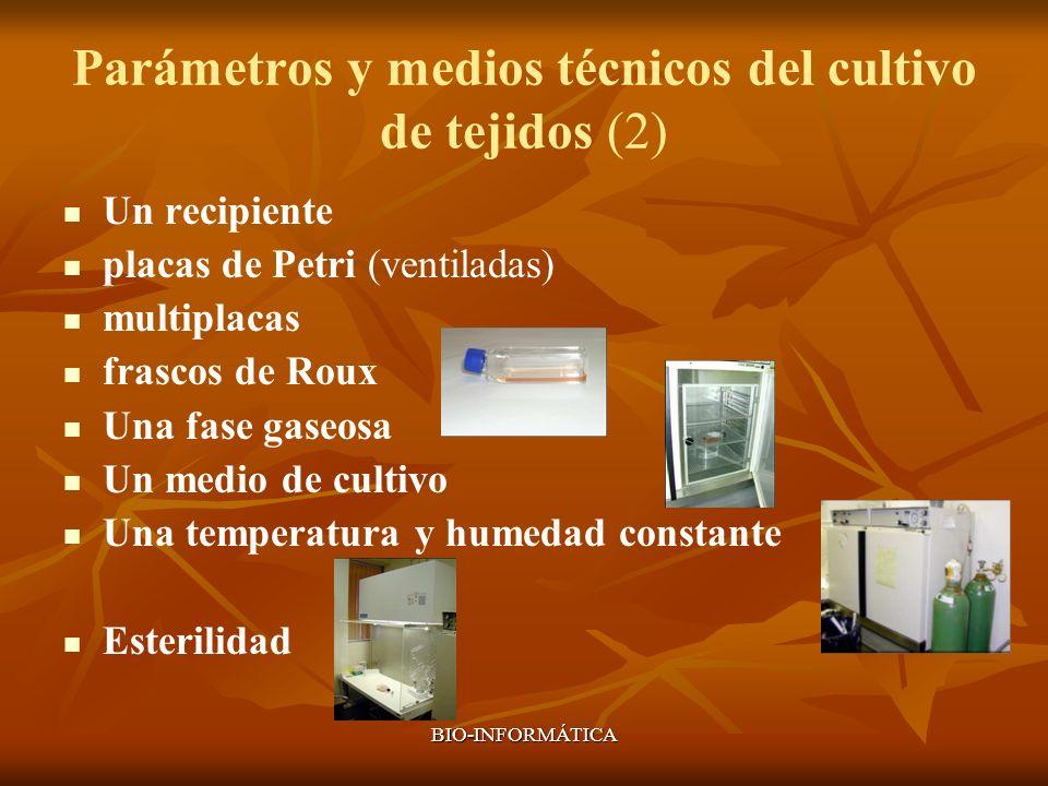 BIO-INFORMÁTICA Parámetros y medios técnicos del cultivo de tejidos (2) Un recipiente placas de Petri (ventiladas) multiplacas frascos de Roux Una fas