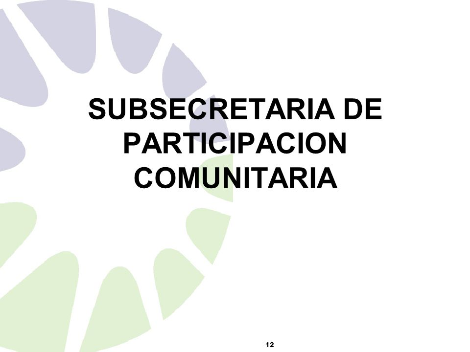 12 SUBSECRETARIA DE PARTICIPACION COMUNITARIA