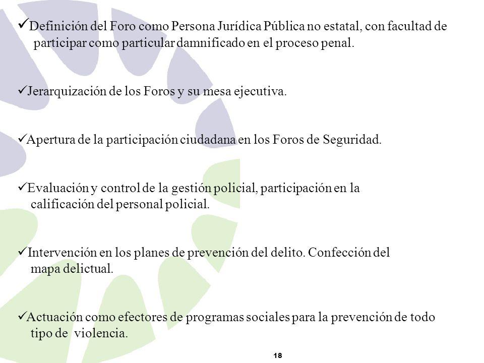 18 Definición del Foro como Persona Jurídica Pública no estatal, con facultad de participar como particular damnificado en el proceso penal.
