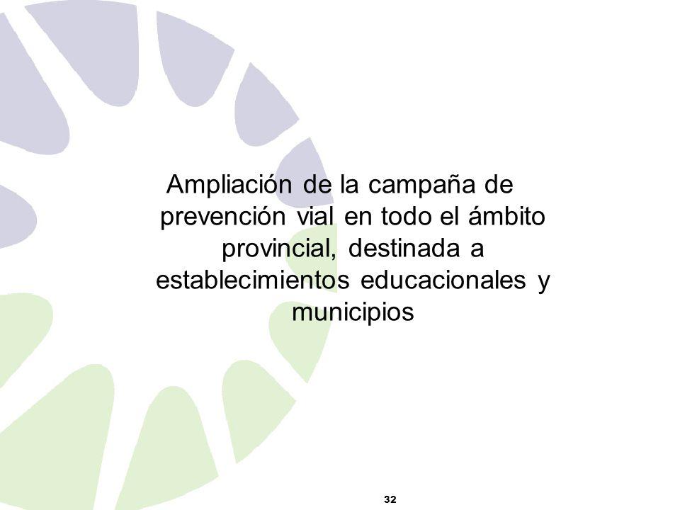 32 Ampliación de la campaña de prevención vial en todo el ámbito provincial, destinada a establecimientos educacionales y municipios