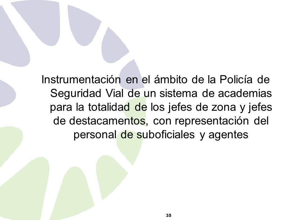 35 Instrumentación en el ámbito de la Policía de Seguridad Vial de un sistema de academias para la totalidad de los jefes de zona y jefes de destacamentos, con representación del personal de suboficiales y agentes
