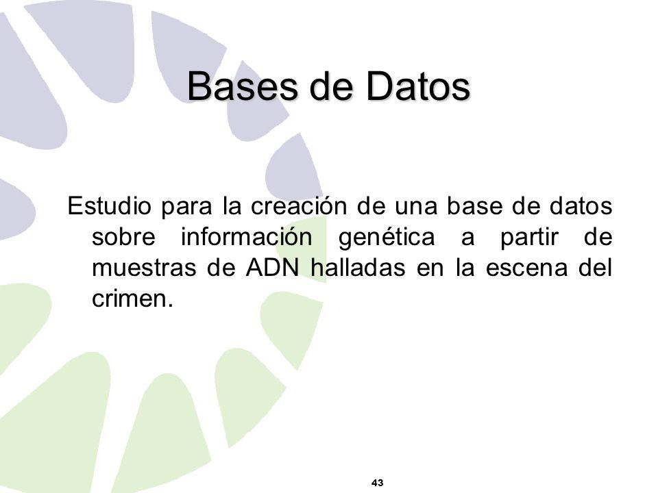 43 Bases de Datos Estudio para la creación de una base de datos sobre información genética a partir de muestras de ADN halladas en la escena del crimen.