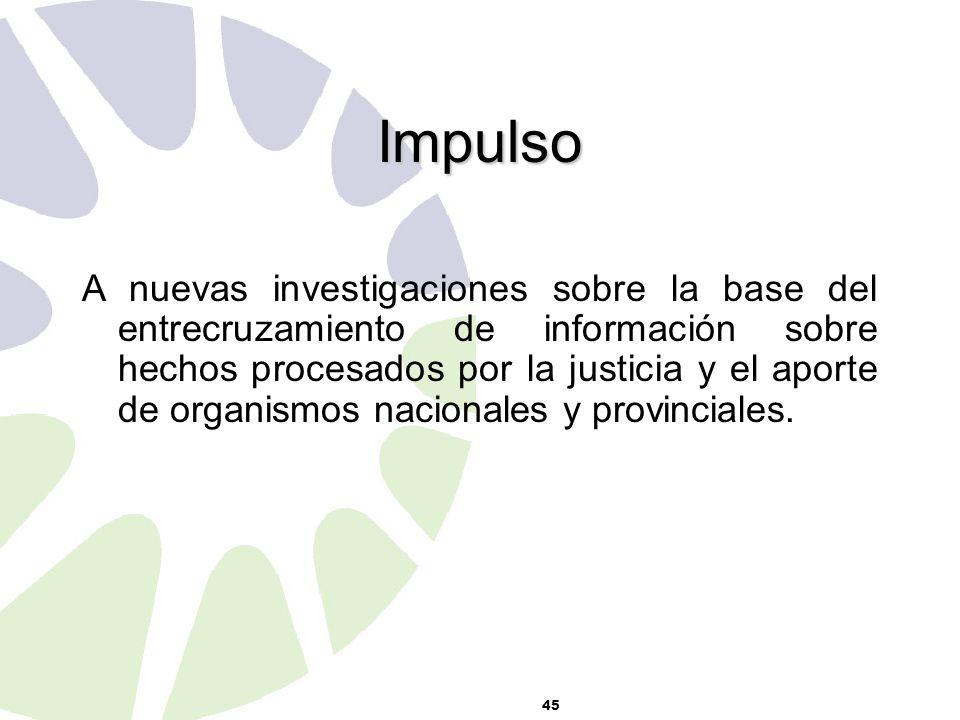 45 Impulso A nuevas investigaciones sobre la base del entrecruzamiento de información sobre hechos procesados por la justicia y el aporte de organismos nacionales y provinciales.