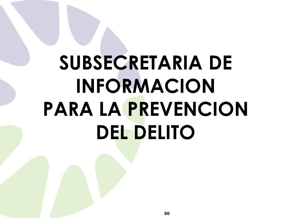 50 SUBSECRETARIA DE INFORMACION PARA LA PREVENCION DEL DELITO