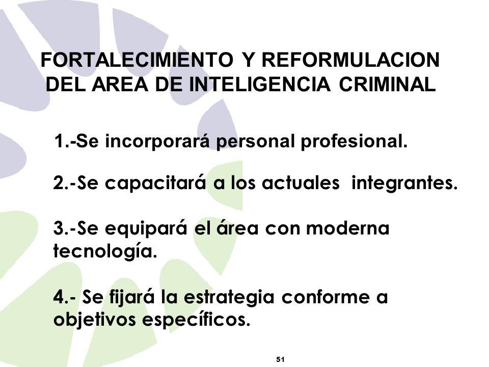 51 FORTALECIMIENTO Y REFORMULACION DEL AREA DE INTELIGENCIA CRIMINAL 1.-Se incorporará personal profesional.