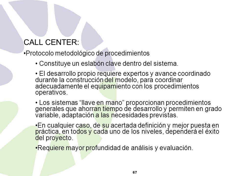 67 CALL CENTER: Protocolo metodológico de procedimientos Constituye un eslabón clave dentro del sistema.