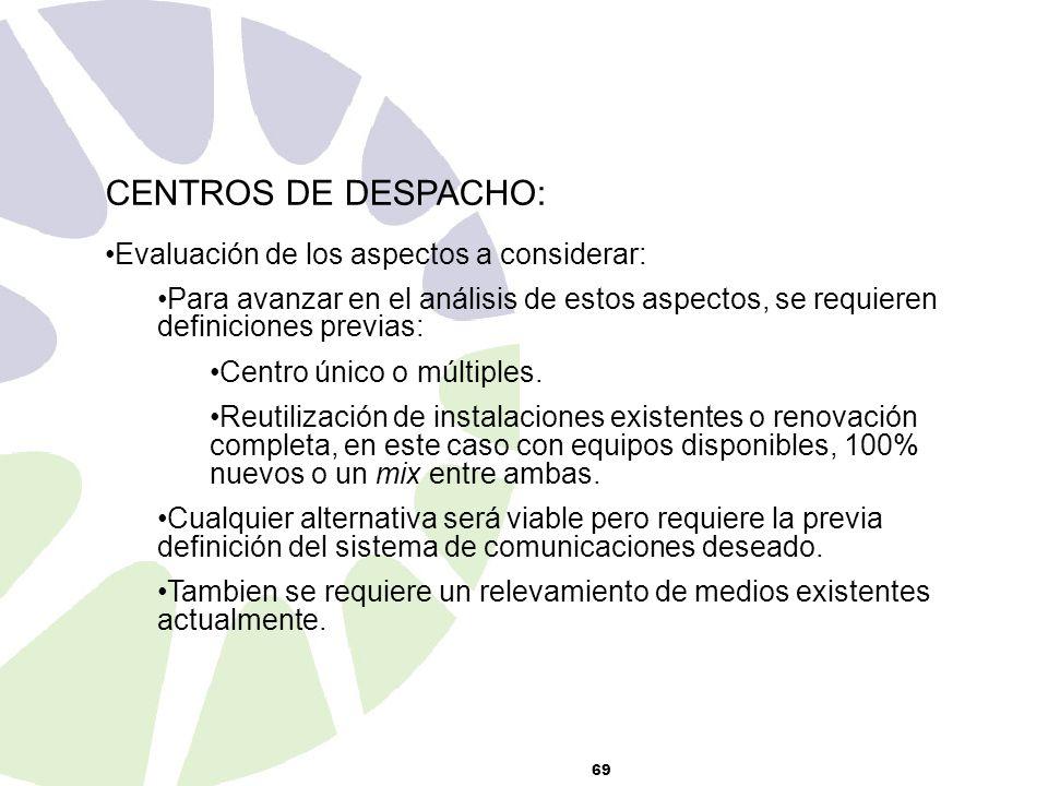 69 CENTROS DE DESPACHO: Evaluación de los aspectos a considerar: Para avanzar en el análisis de estos aspectos, se requieren definiciones previas: Centro único o múltiples.