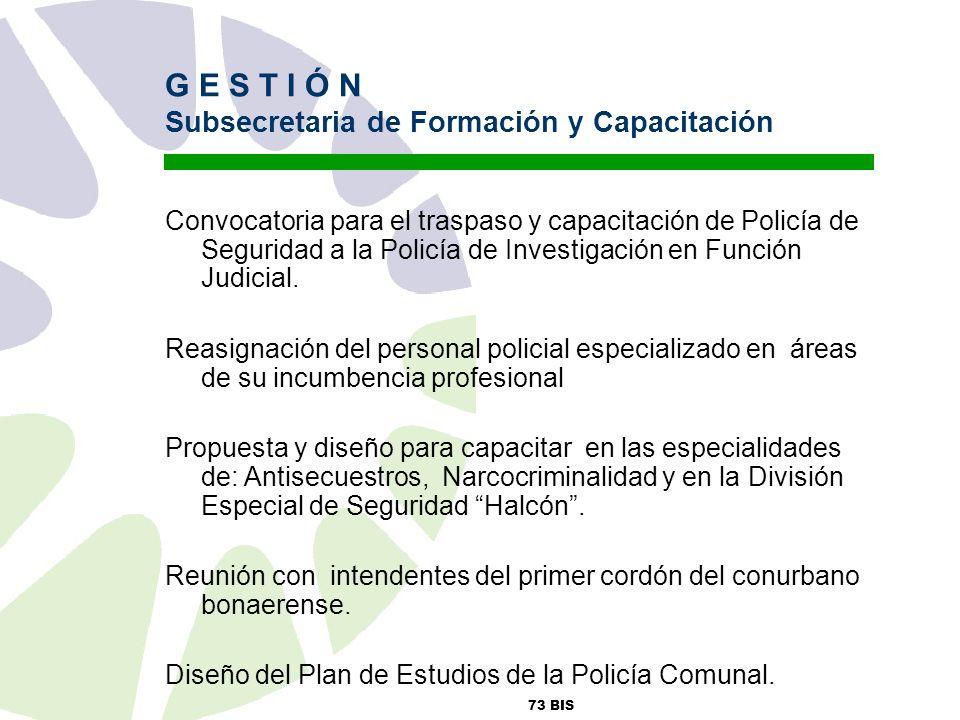 73 BIS G E S T I Ó N Subsecretaria de Formación y Capacitación Convocatoria para el traspaso y capacitación de Policía de Seguridad a la Policía de Investigación en Función Judicial.