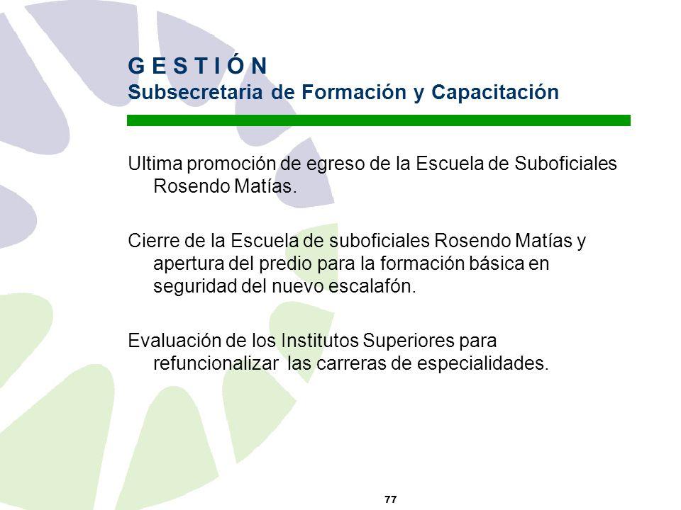 77 G E S T I Ó N Subsecretaria de Formación y Capacitación Ultima promoción de egreso de la Escuela de Suboficiales Rosendo Matías.