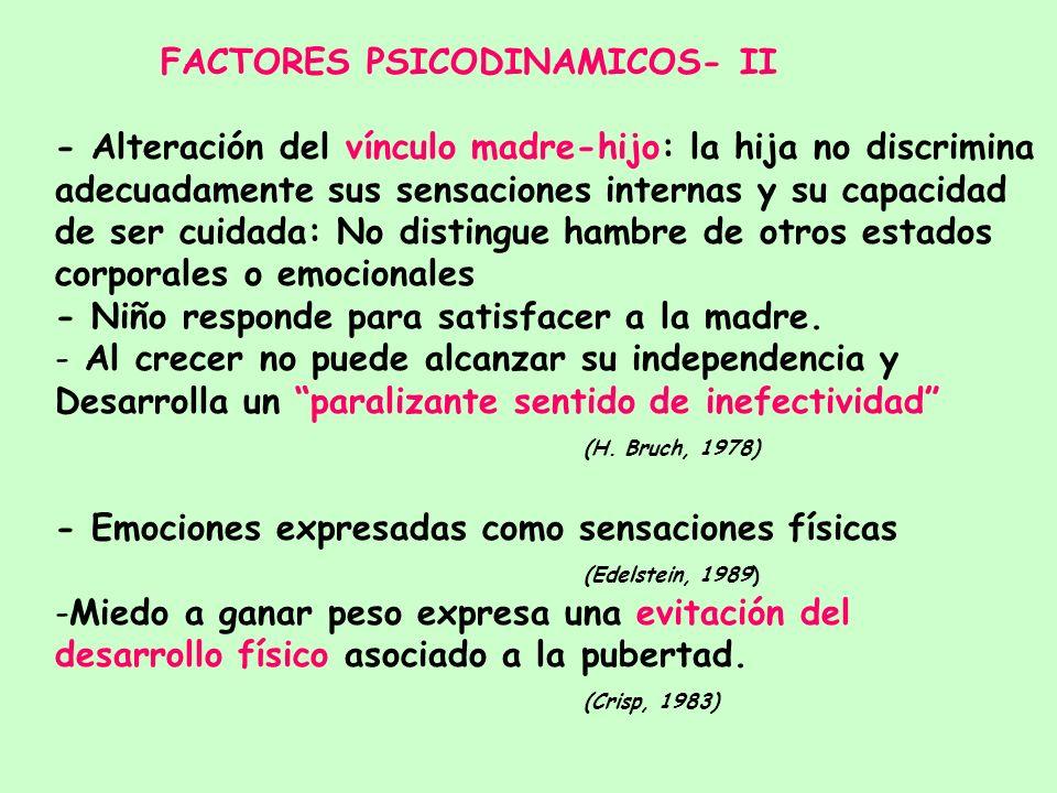 FACTORES PSICODINAMICOS - I 1.- Síntoma como símbolo del trauma 2.- Expresión de un conflicto intrapsíquico a través de la vía oro-alimentaria. 3.- Fr