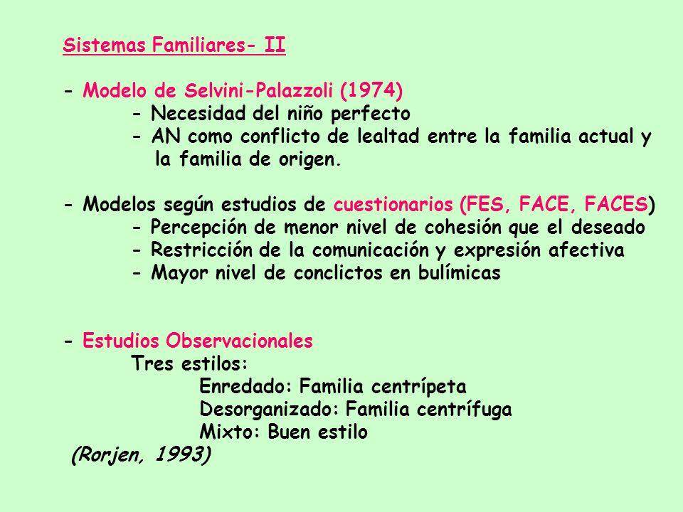 Sistemas familiares -I - Familia como el CONTEXTO (no causa) del trastorno. - Características comunes a distintos autores: * Familia cerrada * Escasas