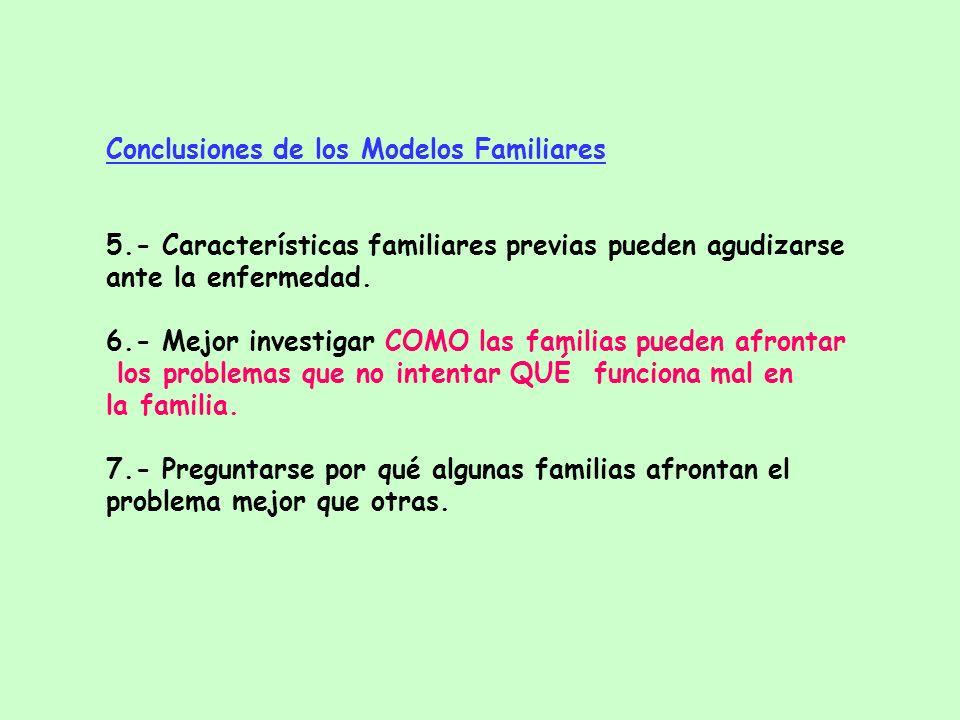 Conclusiones de los Modelos Familiares 1.- No existe un tipo particular de familia invariablemente asociado con TCA. 2.- En muestras comunitarias meno