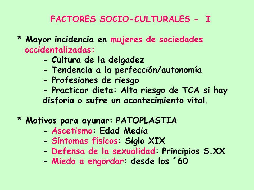 ETIOLOGIA DE LOS TCA MULTICAUSAL: Factores interactuando BIOLOGICOS PSICOLOGICOS FAMILIARESSOCIOCULTURALES