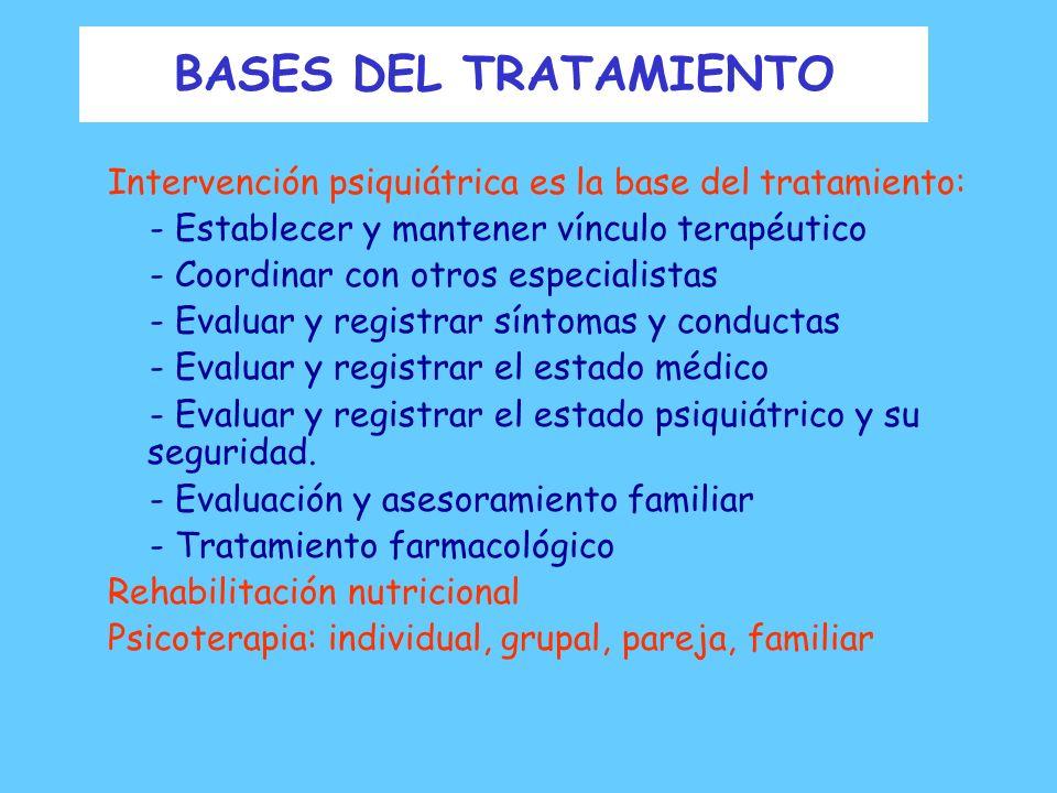 BASES DEL TRATAMIENTO Tratamiento efectivo atiende a: - Estado Físico - Estado Psicológico Alimentación Peso Estado metabólico y cardiológico Cognicio