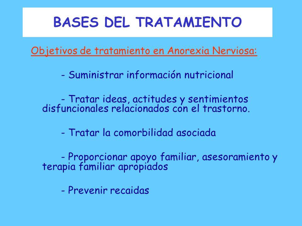 BASES DEL TRATAMIENTO Objetivos de tratamiento en Anorexia Nerviosa: - Restablecer el peso saludable -menstruación y ovulación normal -impulso sexual