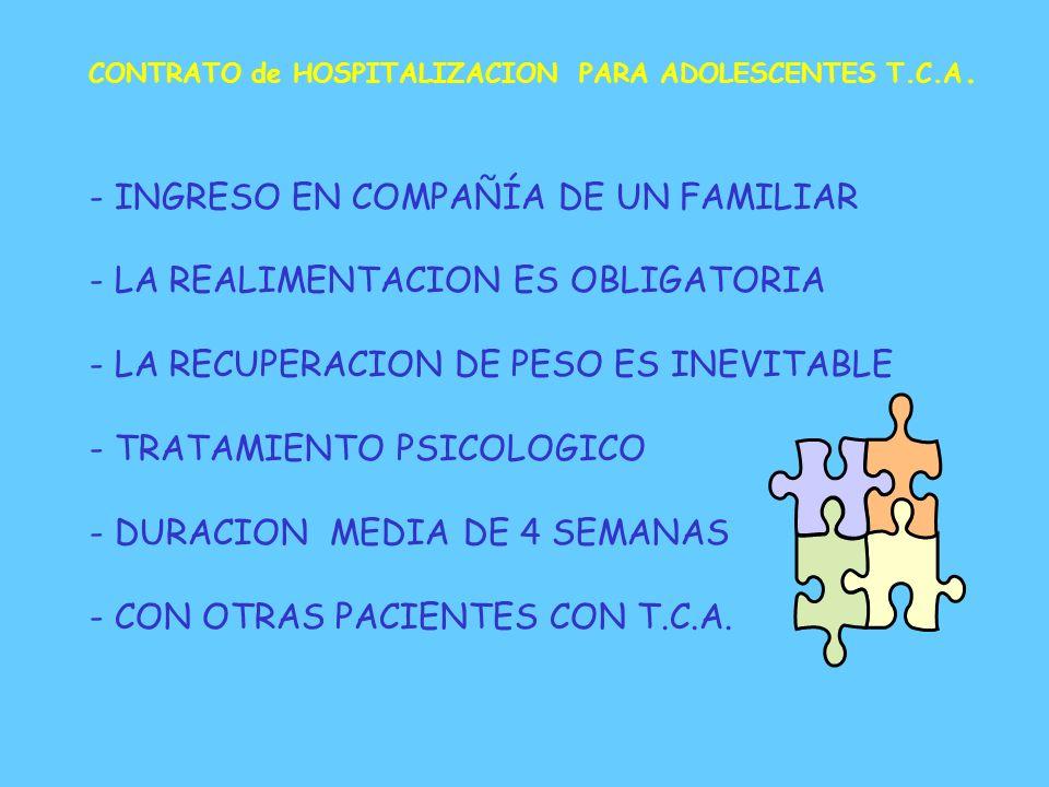 PREPARACION PARA EL INGRESO - CONFIRMAR EL DIAGNOSTICO - DESCRIPCION DEL PROGRAMA - COMENTAR MIEDOS, FANTASIAS, AMBIVALENCIA - CONTRATO TERAPEUTICO -