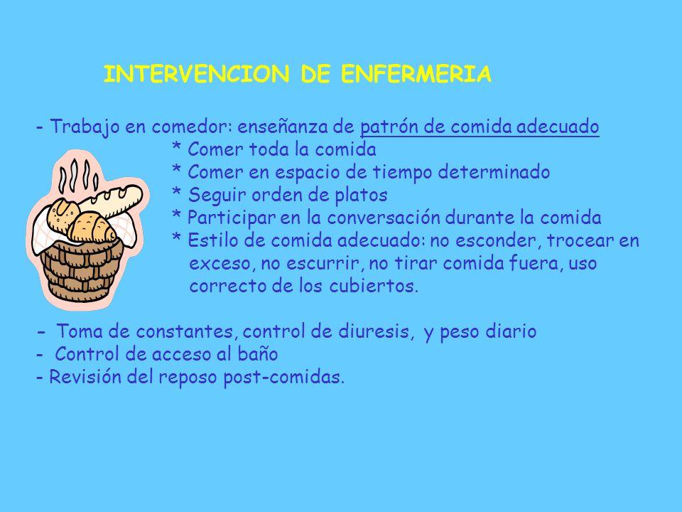 E INTERVENCION DE ENFERMERIA - Toma de Constantes y peso diario - Administración de refuerzos del Programa Modificación de Conducta. - Técnicas de Obs
