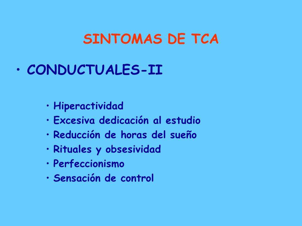 SINTOMAS DE TCA CONDUCTUALES-I –Comportamiento alimentario Dieta restrictiva Episodios bulímicos Vómitos autoprovocados Uso de laxantes y diuréticos E
