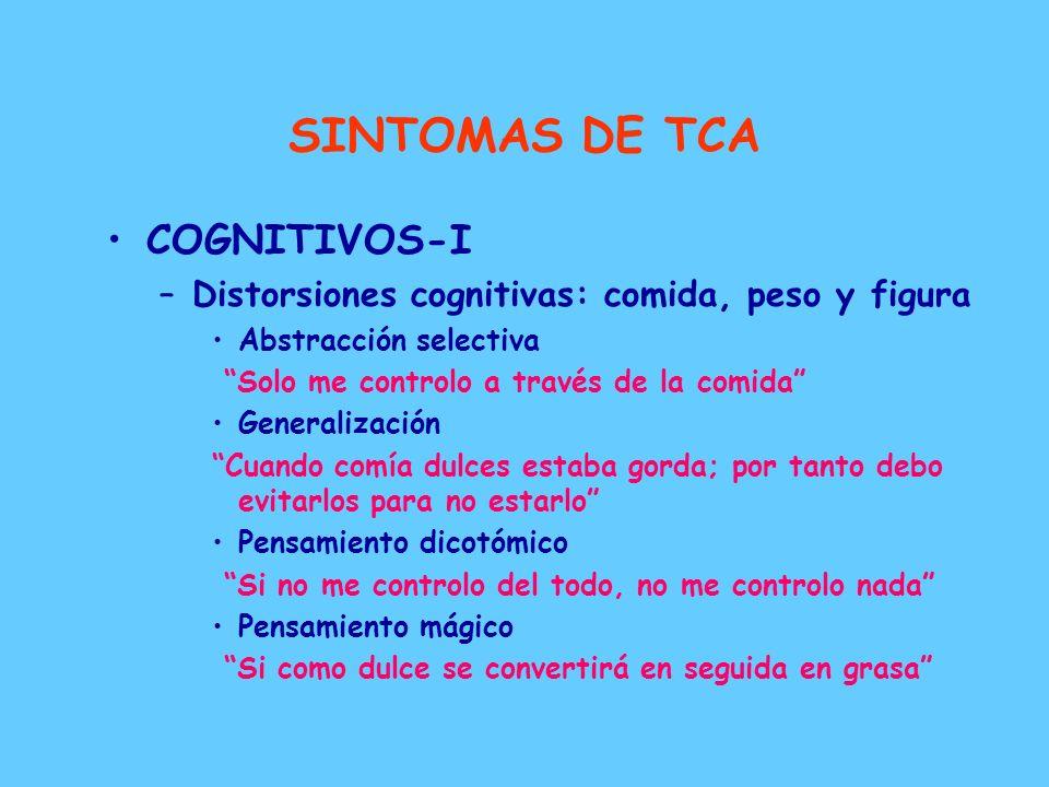 SINTOMAS DE TCA CONDUCTUALES-III Comportamiento familiar Aislamiento social Disminución del interés sexual Promiscuidad: BN SINTOMAS DE ANOREXIA NERVI