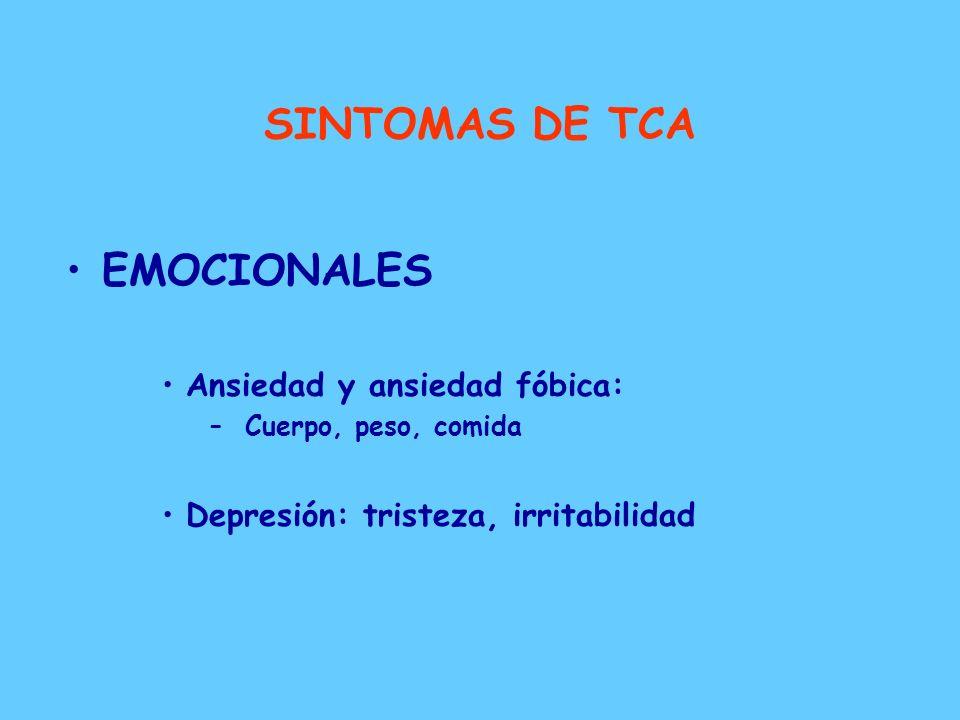 SINTOMAS DE TCA PSICOPATOLOGICOS –Disminución de la atención y concentración –Pensamiento concreto: alteración de la abstracción –Falta de conciencia