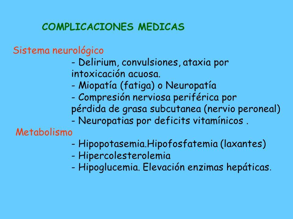 COMPLICACIONES MEDICAS Sistema cardiovascular - Bradicardia. Hipotension - Disminución del tamaño cardíaco - Prolapso de la vávula mitral - Derrame pe