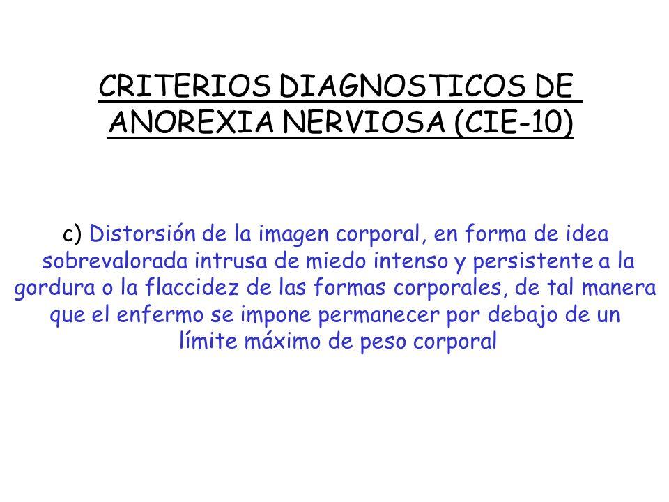 CRITERIOS DIAGNOSTICOS DE ANOREXIA NERVIOSA (CIE-10) El diagnóstico debe realizarse de forma estricta, deben estar presentes todas las alteraciones si