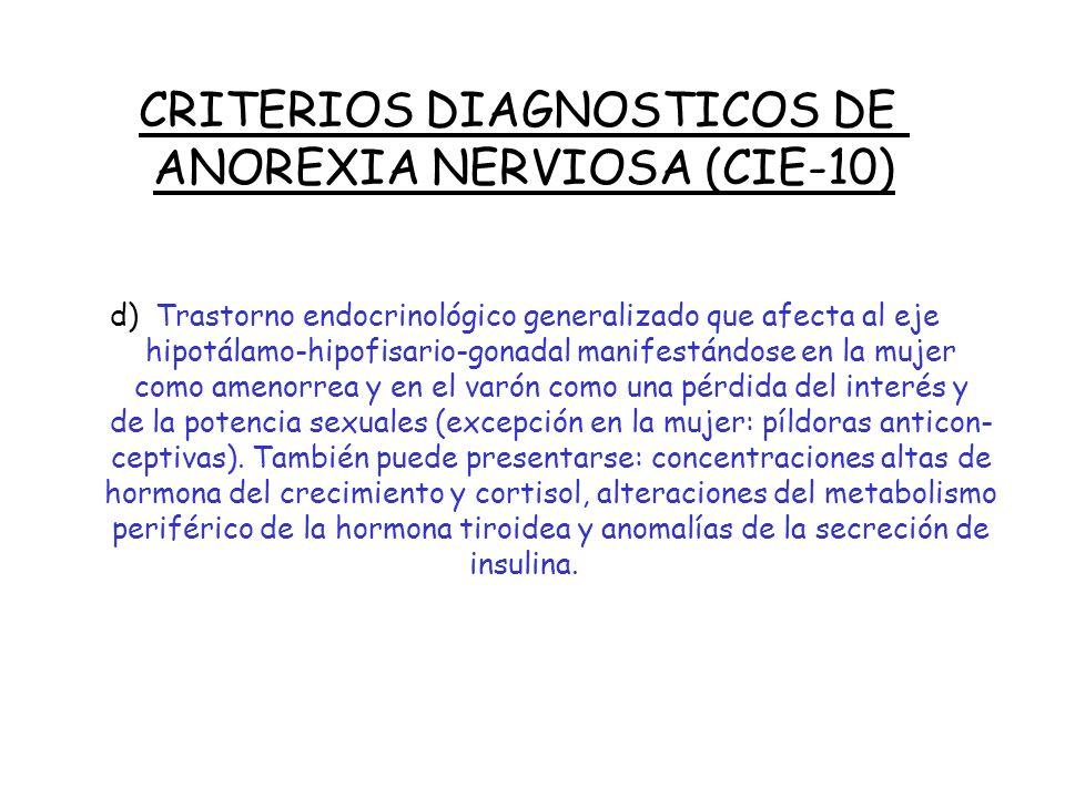 CRITERIOS DIAGNOSTICOS DE ANOREXIA NERVIOSA (CIE-10) c) Distorsión de la imagen corporal, en forma de idea sobrevalorada intrusa de miedo intenso y pe