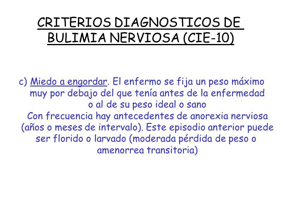 CRITERIOS DIAGNOSTICOS DE BULIMIA NERVIOSA (CIE-10) b) El enfermo intenta contrarrestar el aumento de peso que se produciría mediante uno o más de los