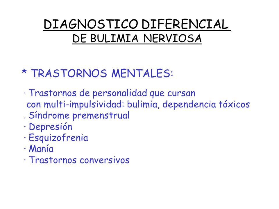 DIAGNOSTICO DIFERENCIAL DE BULIMIA NERVIOSA * TRASTORNOS SOMATICOS : · Tumores, traumatismos, cirugía S.N.C. (hipotalámicos, frontales, parietales) ·