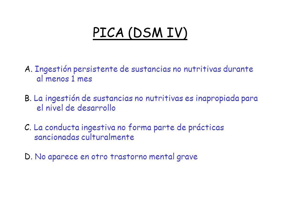 TRASTORNO DE RUMIACION (DSM IV) A. Regurgitaciones y nuevas masticaciones repetidas de alimento durante por lo menos 1 mes, después de funcionamiento