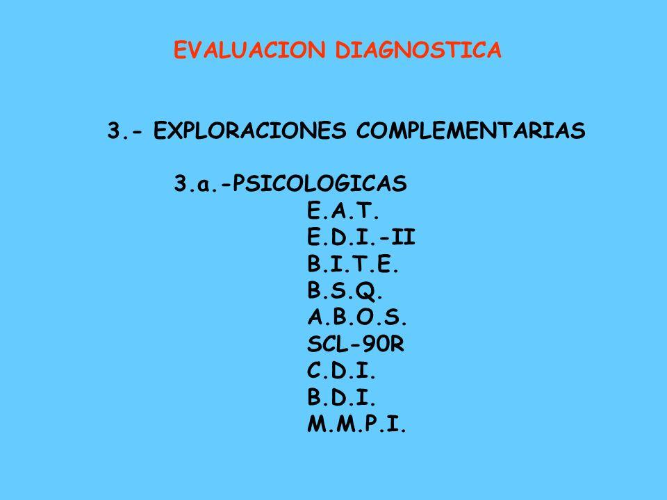 EVALUACION DIAGNOSTICA 1.- HISTORIA CLINICA - Exploración psicopatológica - Psicopatología específica - Comorbilidad 2.- EXPLORACIÓN FISICA - Examen f