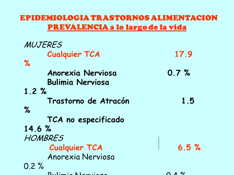 EPIDEMIOLOGIA TRASTORNOS ALIMENTACION INCIDENCIA * THEANDER, 1970: · 1930-50: Incidencia 0,24/100.000 hab · 1950-60: Incidencia 0,45/100.000 hab * CRI