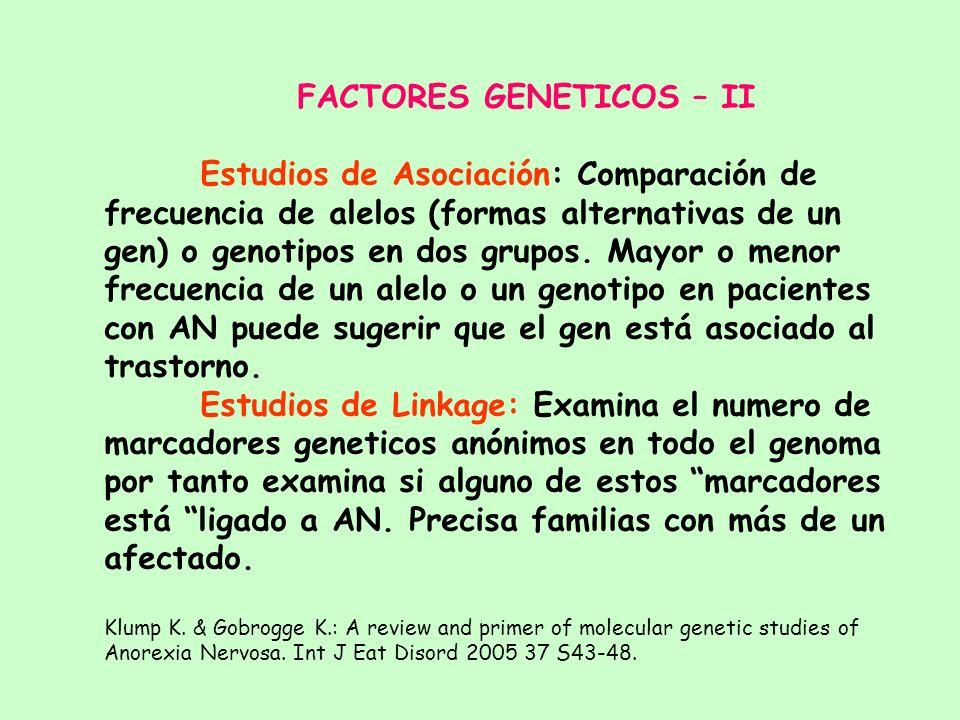 FACTORES GENETICOS – I Contribuyen a más del 50 % de la varianza. Agregación familiar - Incidencia de AN en hermanas es del 6% (Theander, 1970) - Inci