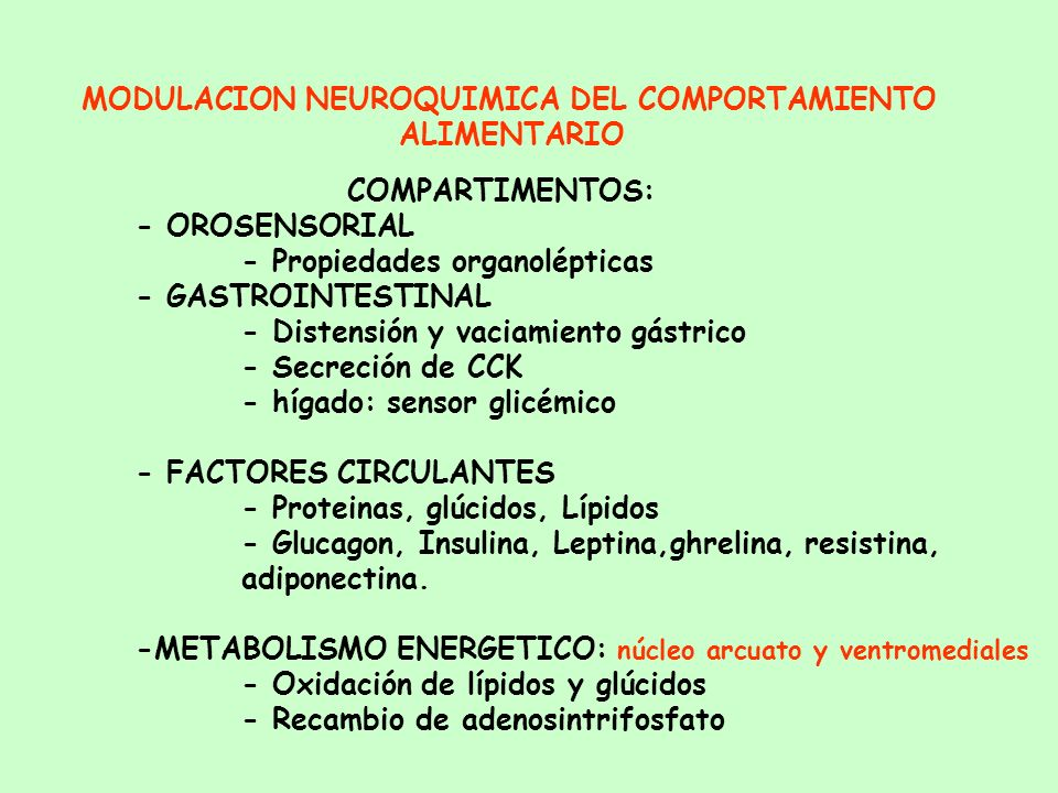 MODULACION NEUROQUIMICA DEL COMPORTAMIENTO ALIMENTARIO Sensación de hambre: glucemia y tasa de oxidación de glúcidos Quimiorreceptores del Area hipota