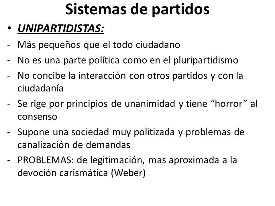 Sistemas de partidos UNIPARTIDISTAS: -Más pequeños que el todo ciudadano -No es una parte política como en el pluripartidismo -No concibe la interacci