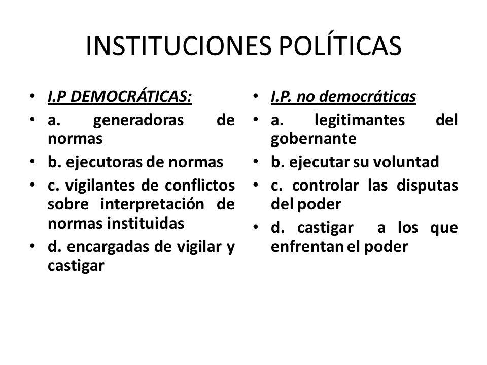 INSTITUCIONES POLÍTICAS I.P DEMOCRÁTICAS: a. generadoras de normas b. ejecutoras de normas c. vigilantes de conflictos sobre interpretación de normas