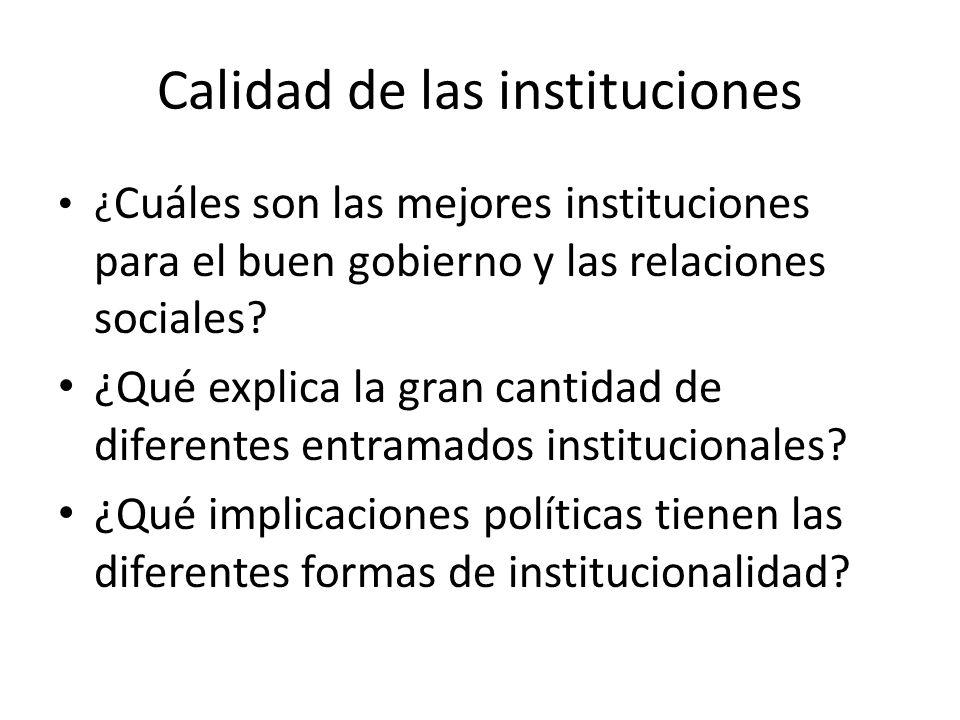 Calidad de las instituciones ¿ Cuáles son las mejores instituciones para el buen gobierno y las relaciones sociales? ¿Qué explica la gran cantidad de